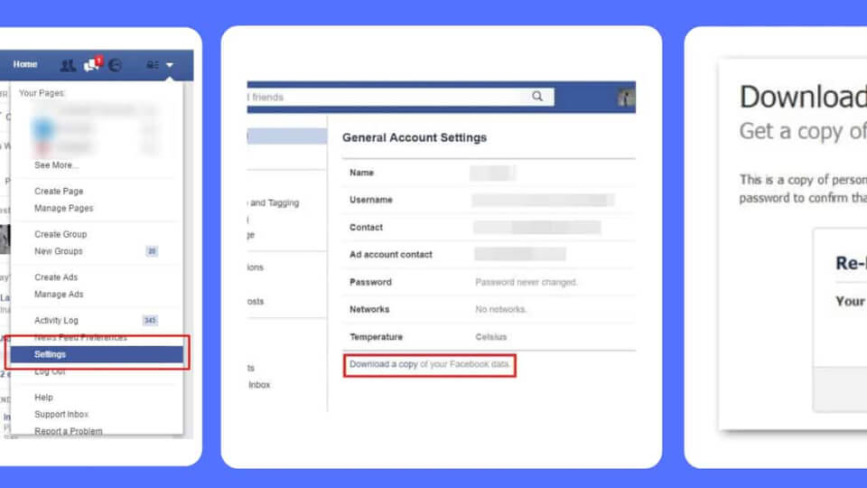 how do you find deleted messages on facebook?